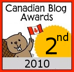 Canadian Blog 2nd place Badge